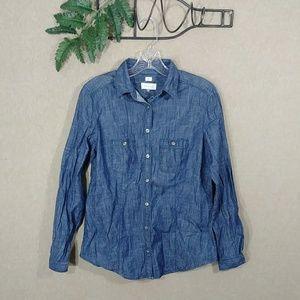 LOFT denim button down shirt small